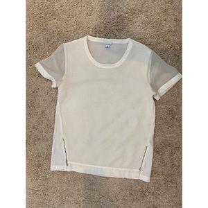 Calvin Klein White Textured Sheer Top Size Small
